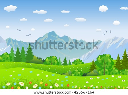 Summer landscape with meadows and mountains. forest, nature landscape, vector background. vector illustration in flat design - stock vector