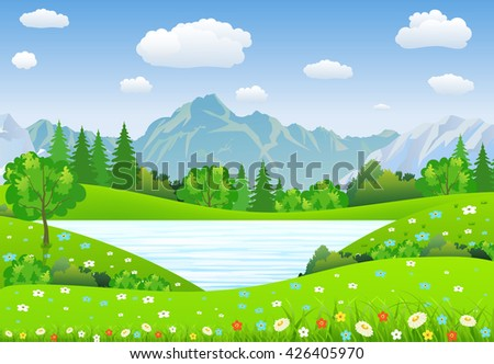 Summer landscape with meadows and mountains. lake and forest, nature landscape, vector background. vector illustration in flat design - stock vector