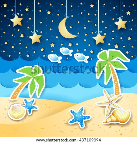 Summer landscape with palms and shells, by night. Vector illustration  - stock vector