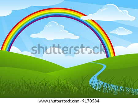 Summer landscape with rainbow and river