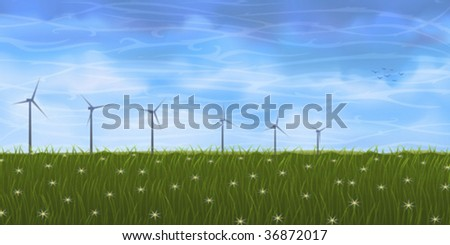 Summer landscape with several wind turbines on grassy plain