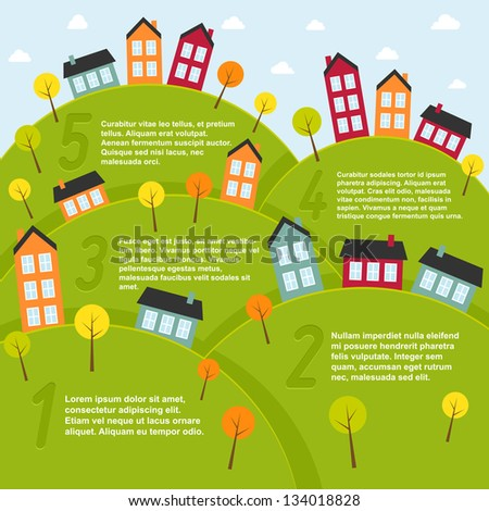 Summer landscape with small town. Vector illustration. - stock vector