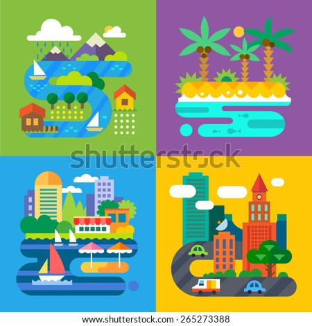 Summer landscapes. Vacation and travel. Alpine village, tropical island, big city, provincial town. Vector flat  illustrations - stock vector