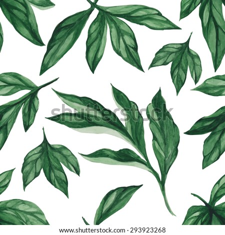 Summer leaves. Seamless, hand painted, watercolor pattern. Vector background - stock vector