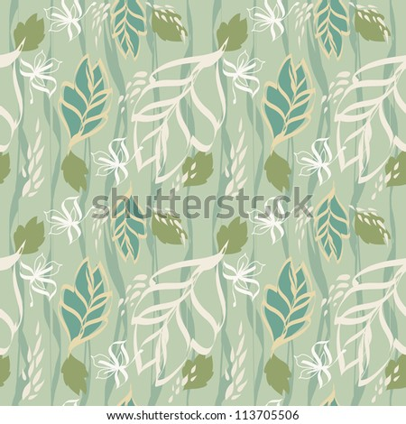 Summer leaves texture seamless pattern. Vector illustration.