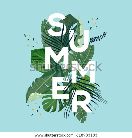 Summer letter with tropical leaves. Season sale vector label. Foliage lettering. Tropical illustration. Summertime poster. For t-shirt, fashion, prints, banner or packaging design.