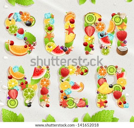 Summer lettering. Beach sand background. Coconut, strawberry, watermelon, cherry, orange, lemon, ice, seashells and starfish for best summer design. - stock vector