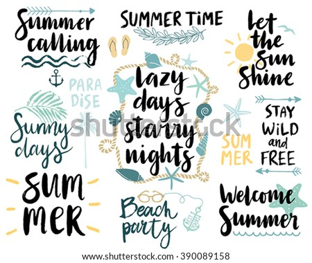 Summer Lettering Design Set - hand drawn Vector illustration. - stock vector