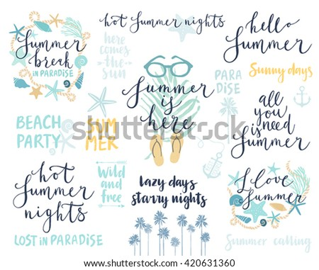 Summer Lettering Design Set - hand drawn Vector illustration. - stock vector