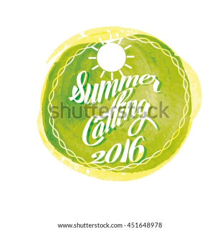Summer lettering on orange watercolor stroke. Vector illustration with sun.