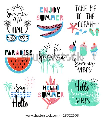 Summer lettering Scandinavian set with holiday Summer Elements. Watermelon, ice cream, palm, tropic, sun. Summer Typographic. Vector illustration. - stock vector