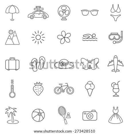 Summer line icons set.Vector - stock vector