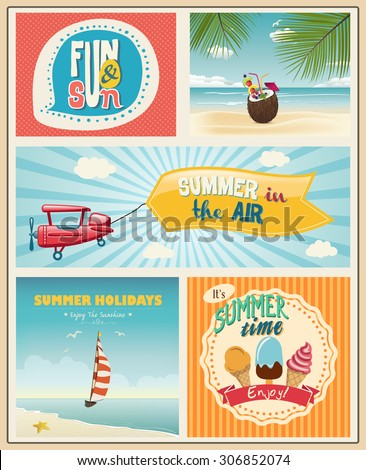 Summer logo and labels design with flat modern icons. Set of summer vacation posters - stock vector