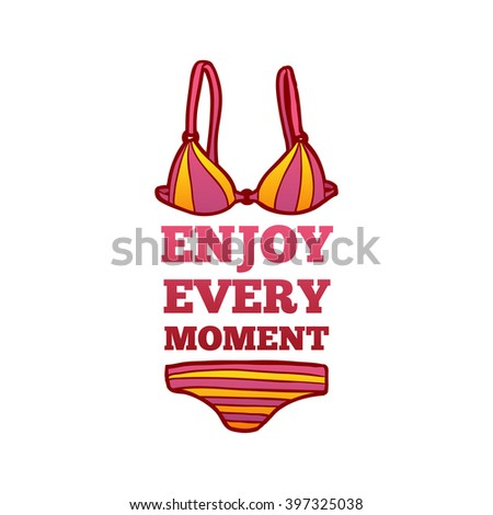 Summer logo enjoy every moment. Summer logo with a female swimsuit in a cartoon style. Badge, banner, badge, sticker, logo for the summer. Vector. - stock vector
