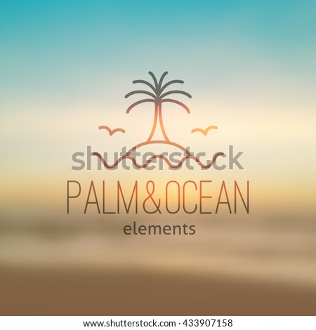 summer logo for travel agency or hotel. Palm, waves, island and seagulls on realistic seascape background - stock vector