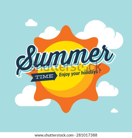 Summer logo vector illustration. Summer time, enjoy your holidays. - stock vector