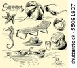 summer lounge doodles - stock vector