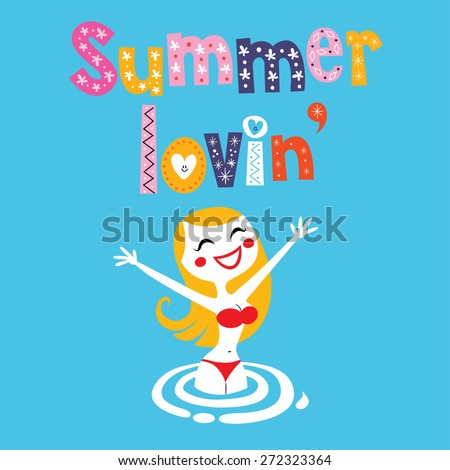 Summer lovin girl - stock vector