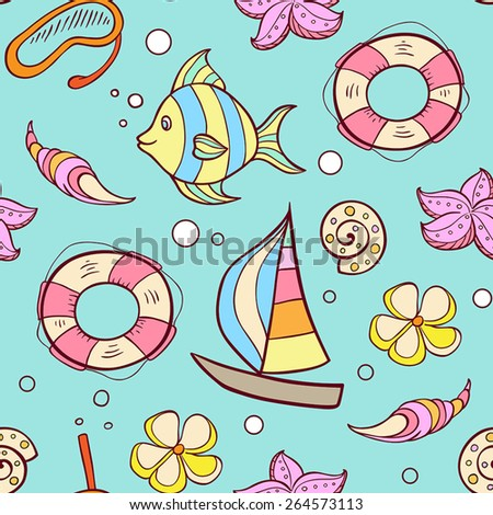 Summer marine seamless pattern with boat, fish and lifebuoy