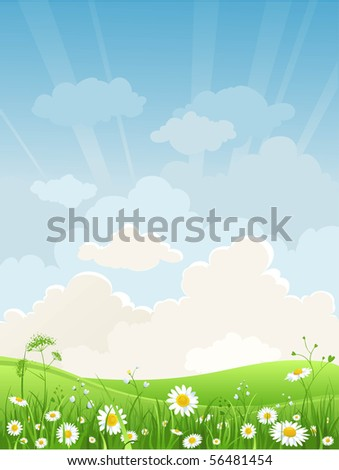 Summer meadow - stock vector