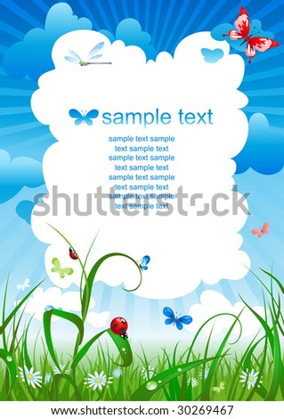 summer meadow background - stock vector