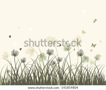 Summer meadow background. EPS 10 vector illustration with transparency and meshes. - stock vector