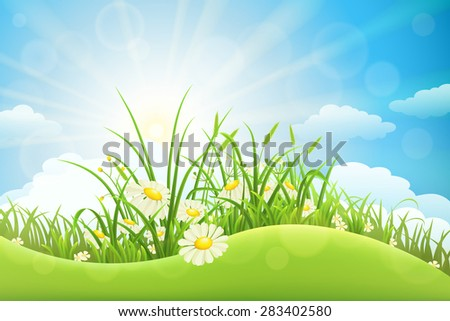 Summer meadow background with green grass, flowers, hill and sun - stock vector