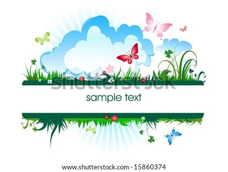 summer meadow banner - stock vector