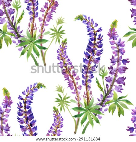 Summer meadow flowers watercolor seamless pattern on white background vector illustration - stock vector