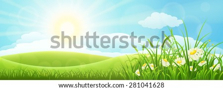 Summer meadow landscape with green grass, flowers, hills and sun - stock vector
