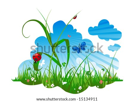 summer meadow with a ladybird - stock vector