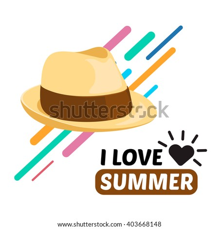 Summer men hat and text. Vacation travel background. Easy to edit design template. - stock vector