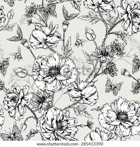 Summer Monochrome Vintage Floral Seamless Pattern with Blooming Poppies Cornflowers, Ladybird Bumblebee and Bee and Butterflies. Vector Shabby Illustration - stock vector