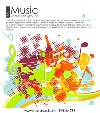 Summer music background with color spray. Vector illustration - stock vector