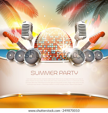 Summer music background with disco ball, speakers, guitar and palm tree - Vector with place for your text - stock vector