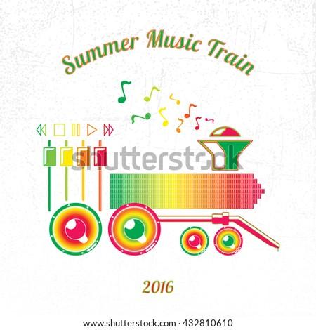 Summer Music Train 2016 Green to Magenta Spectrum Elements on White Grunge Background-Pictogram Flat Design - stock vector