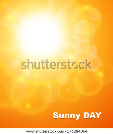 Summer natural  background with sun, vector illustration. - stock vector
