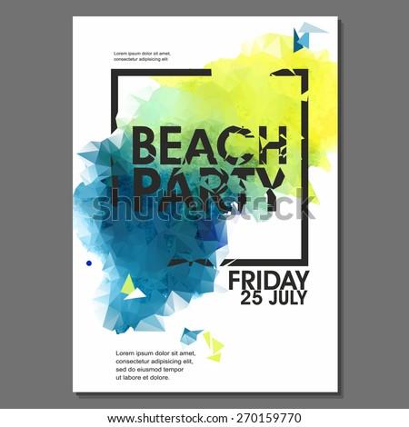 Summer Night Beach Party Vector Flyer Template - EPS10 Design - stock vector
