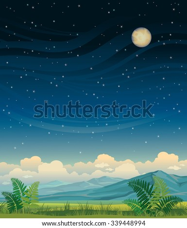 Summer night landscape - green meadow and blue mountains on a starry sky. Vector nature illustration. - stock vector