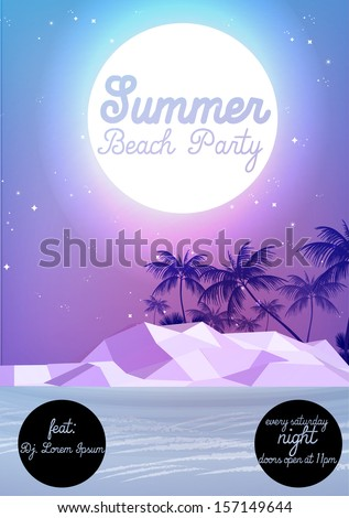 Summer Night Party Flyer Template - Vector Illustration - stock vector