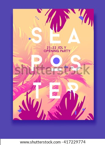 Summer Night Party Vector Flyer Template. Modern stile. Sea poster with palm. Orange. - stock vector