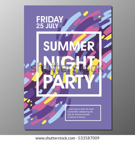 Summer Night Party Vector Flyer Template Stock Vector Hd Royalty