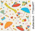 Summer objects seamless funny bright pattern - stock photo