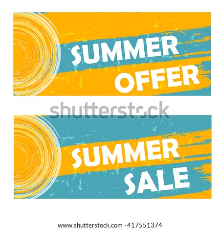 summer offer and sale banners - text and sun sign in yellow blue drawn labels, business seasonal shopping concept, vector - stock vector