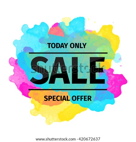 Summer offer stickers with bright watercolor splatters. Big sale and special discounts. Vector Illustration.