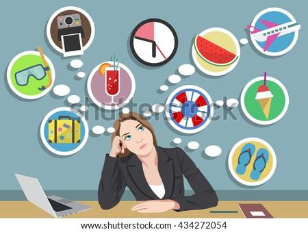 Summer Office Dreams Dreamy Girl on the Job - stock vector