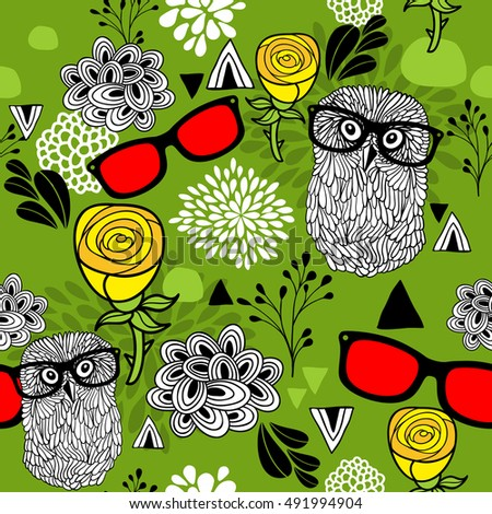 Summer or spring bright seamless pattern with smart birds in glasses. Vector illustration.