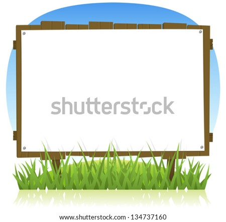Summer Or Spring Country Wood Billboard/ Illustration of a cartoon horizontal summer or spring wooden billboard with blank sign for holidays vacations and environment advertisement - stock vector