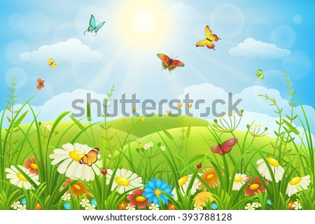 Summer or spring lush meadow with colorful flowers and butterflies - stock vector