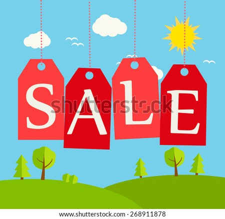Summer or spring sale sign with outdoor landscape and hanging red tags, vector illustration - stock vector